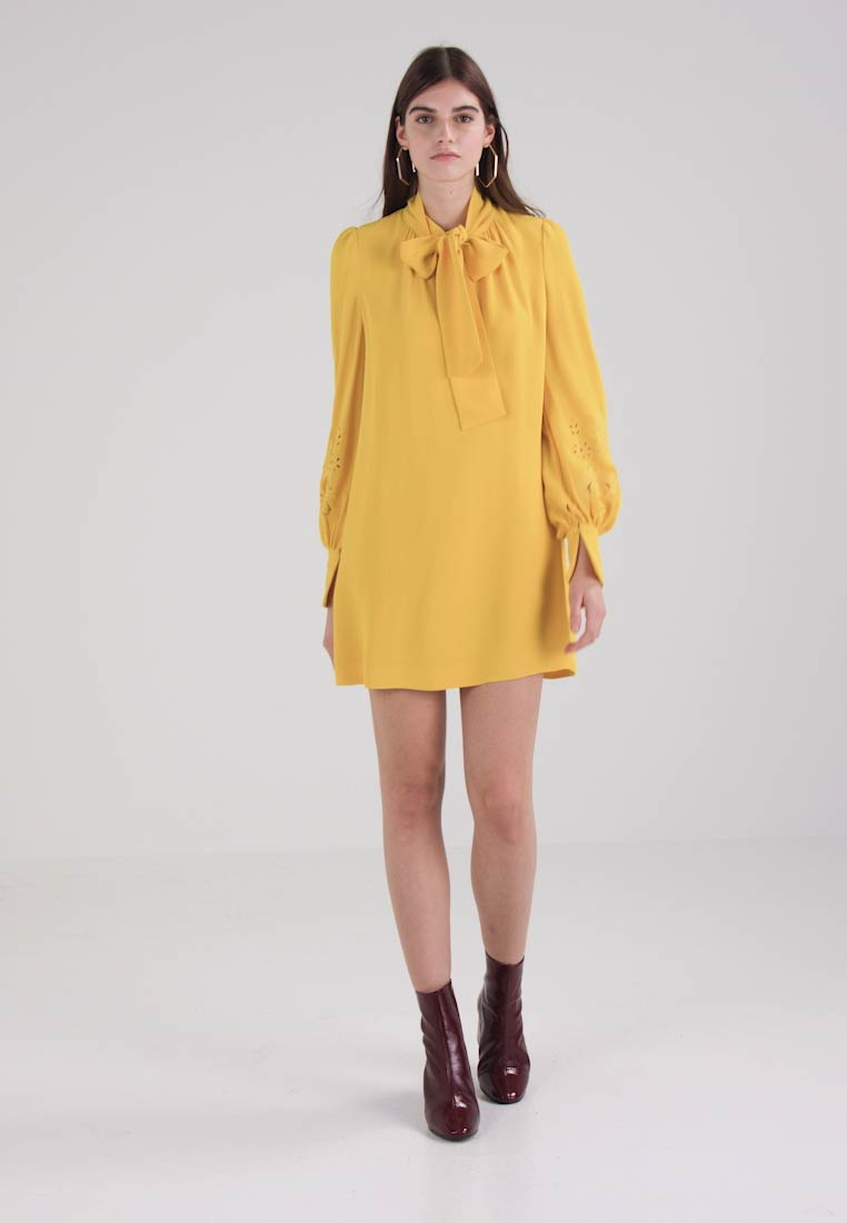 Yellow Crepe Tie Dress Connection Robe Arimi French D'été E29IYWHD