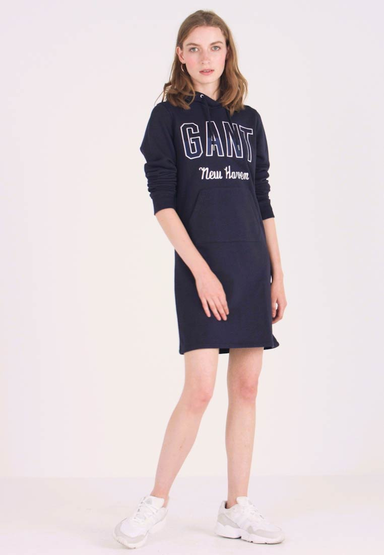 GANT - HOODIE DRESS - Freizeitkleid - evening blue