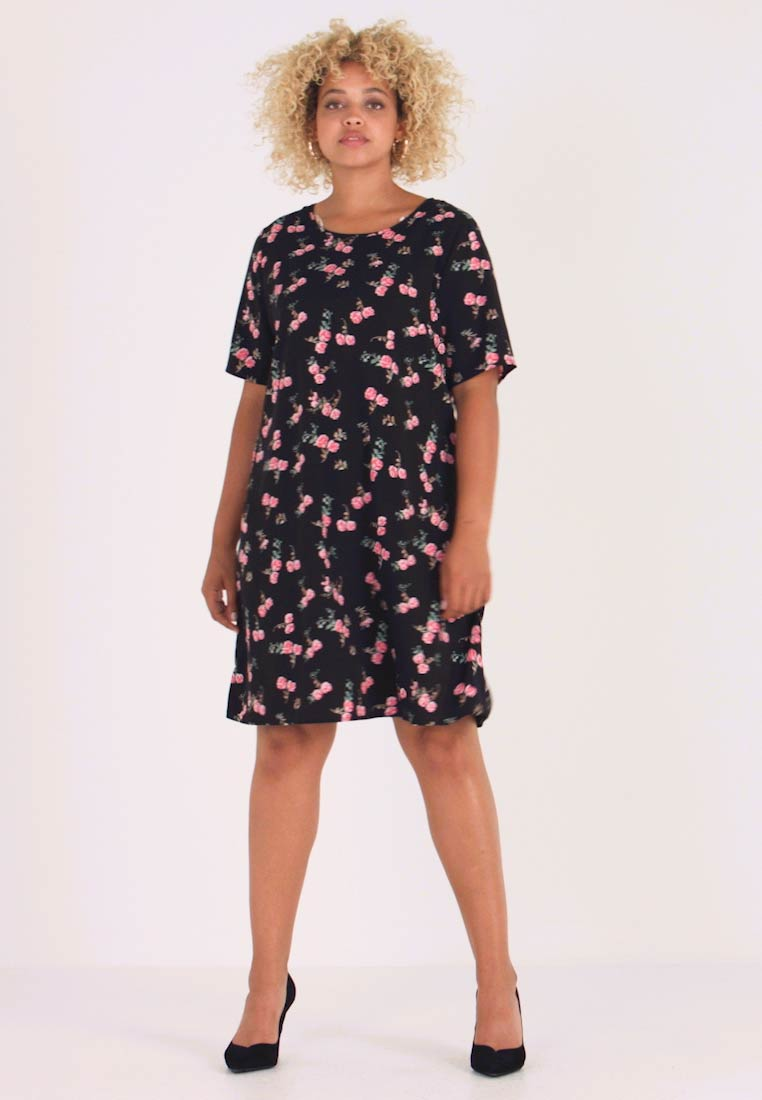 Glamorous Curve - DITSY FLORAL SHIFT DRESS - Vardagsklänning - black