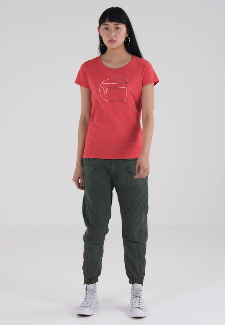 G-Star LIFFY STRAIGHT R TS/S - T-shirts med print - red htr