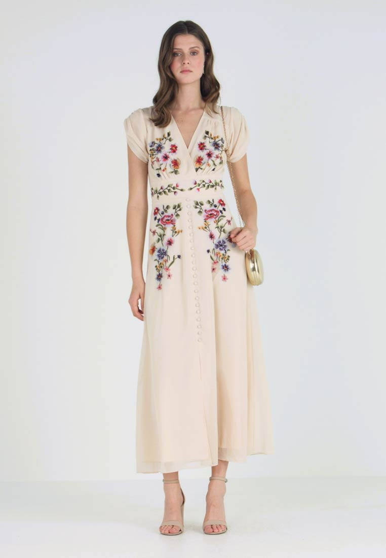 Hope & Ivy Tall - BUTTON DOWN EMBROIDERED MIDI WITH WAISTBAND - Vestido de cóctel - blush