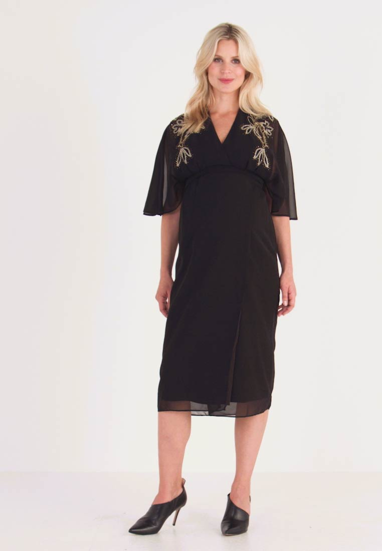 Hope & Ivy Maternity - BEADED WRAP KIMONO DRESS - Vapaa-ajan mekko - black