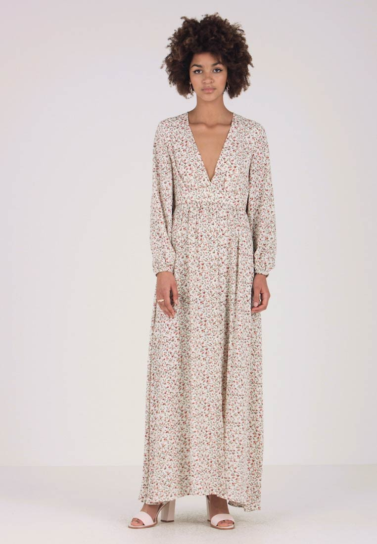Honey Punch - VNECK PATTERNED MAXI DRESS - Vestito lungo - cream
