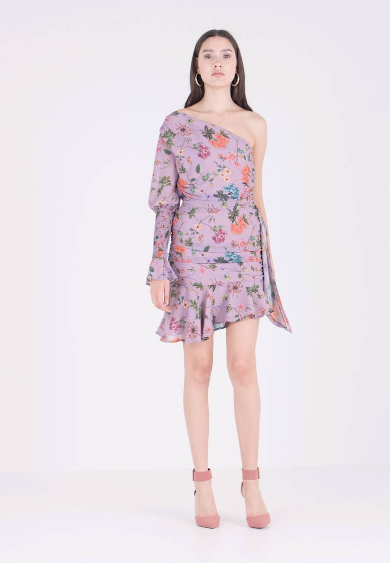 Honey Punch - ONE SHOULDER FLORAL DRESS - Cocktailkleid/festliches Kleid - lavender