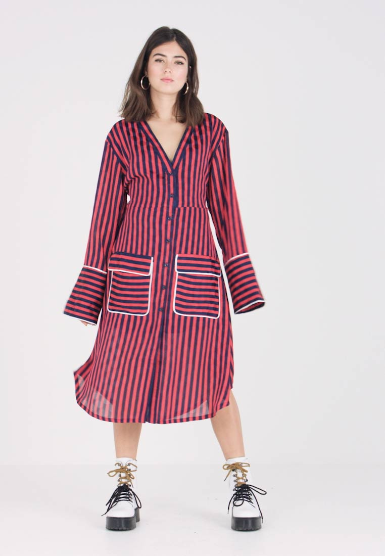 House of Holland - STRIPED ALINE DRESS - Day dress - red multi