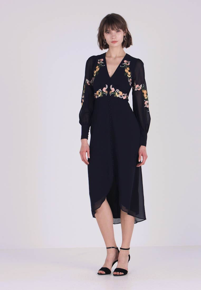 Hope & Ivy - EMBROIDERED BUTTON FRONT MIDI - Occasion wear - navy