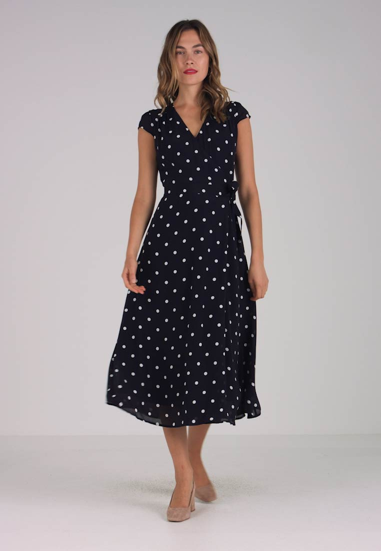 IVY & OAK - POLKA DOT WRAP DRESS - Długa sukienka - navy blue
