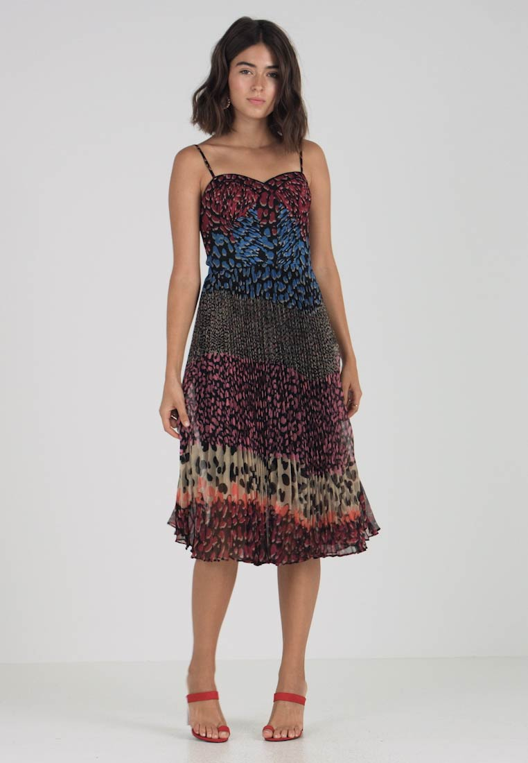 ON Karen Millen COLOUR PLEATS LEOPARD BLOCK Cocktailkjole PRINT na7Pnf