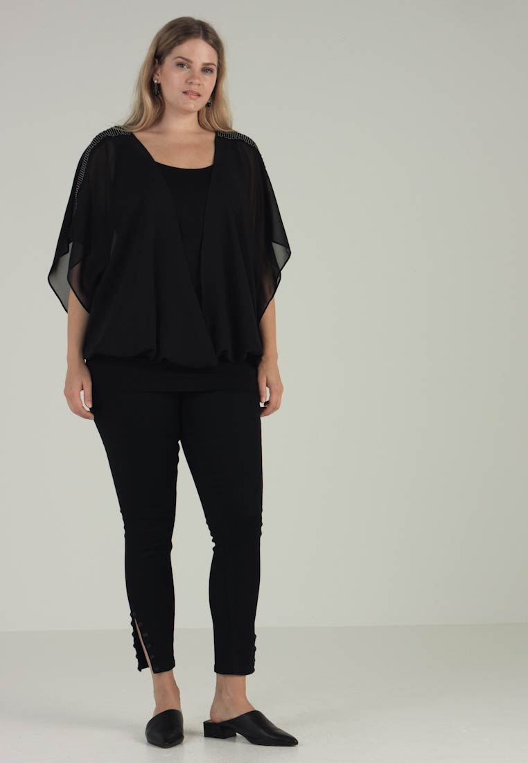 Wrap Black Beaded With Live Unlimited Trim London Blouse ZxAx0qE