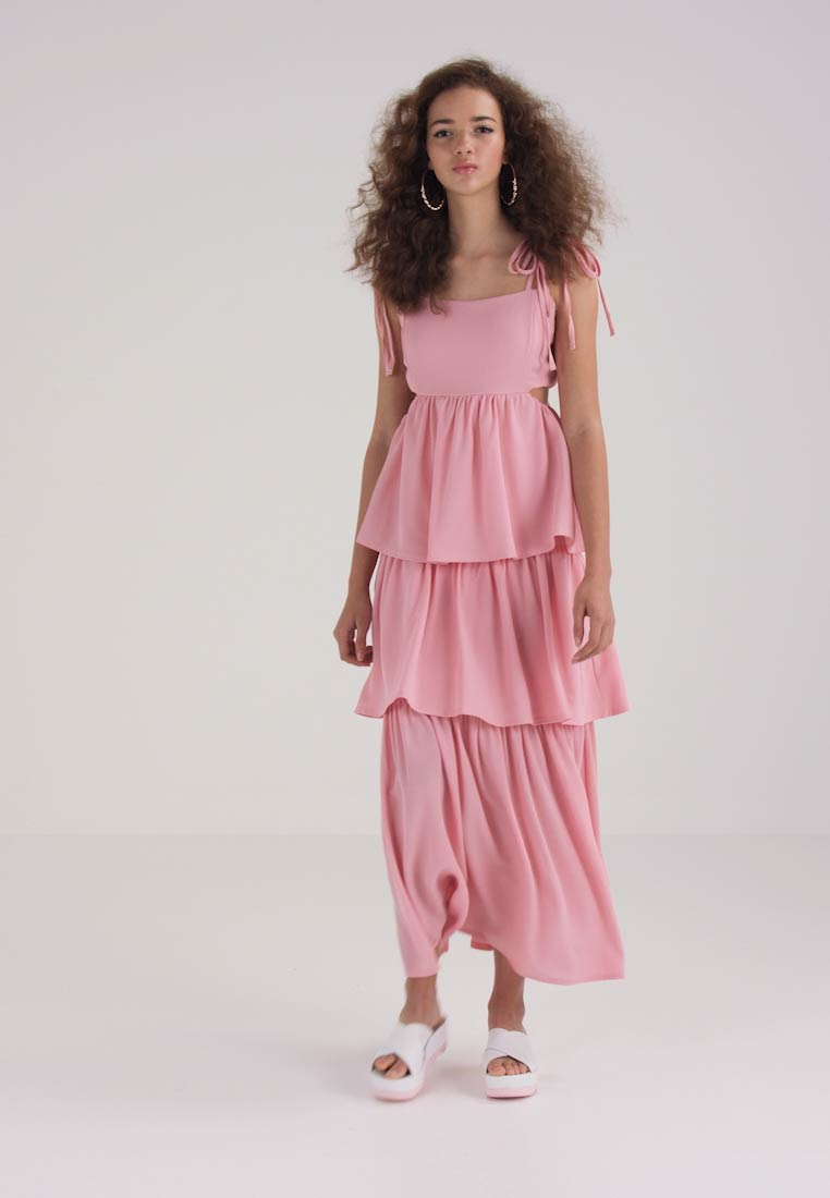 Lost Ink TIERED WITH TIE STRAPS - Fotsid kjole - pink