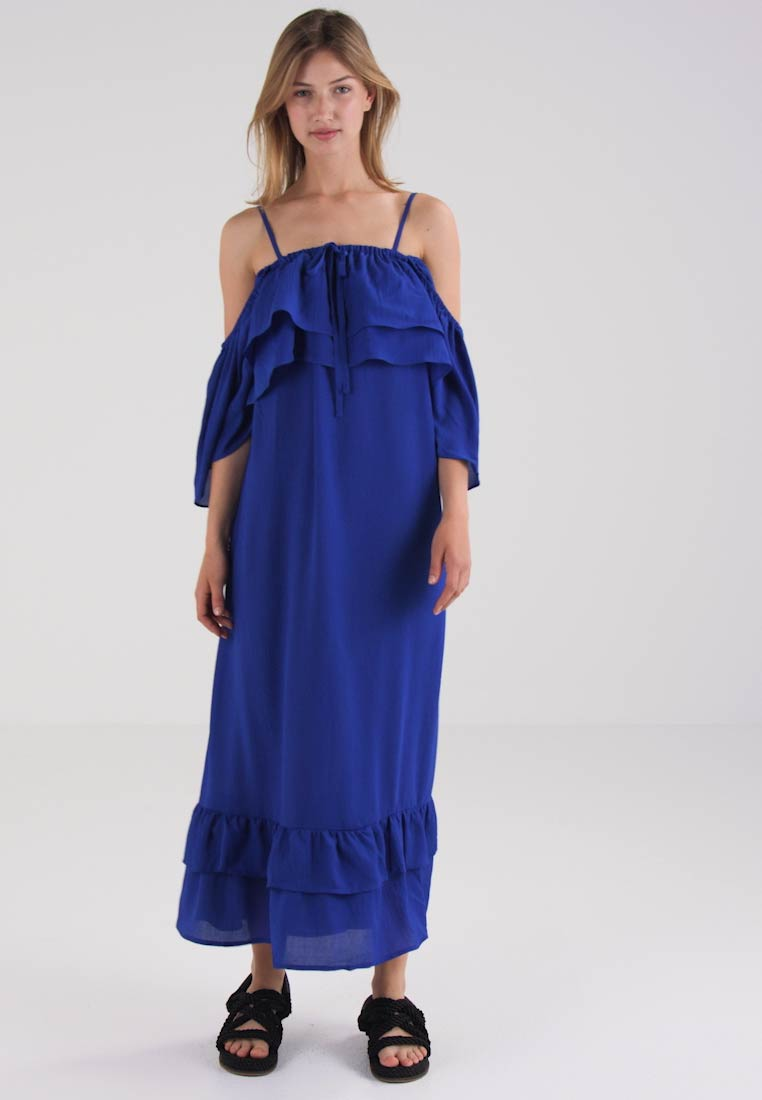 Lost Ink RUFFLE BUST AND HEM - Robe longue - cobalt blue