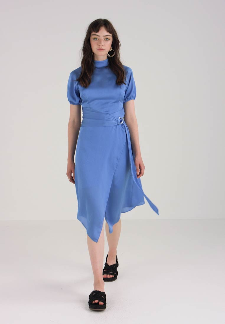 DRESS Lost Ink SHEER COLLAR elegante WITH Vestito blue WRAP qwtCrWZnw