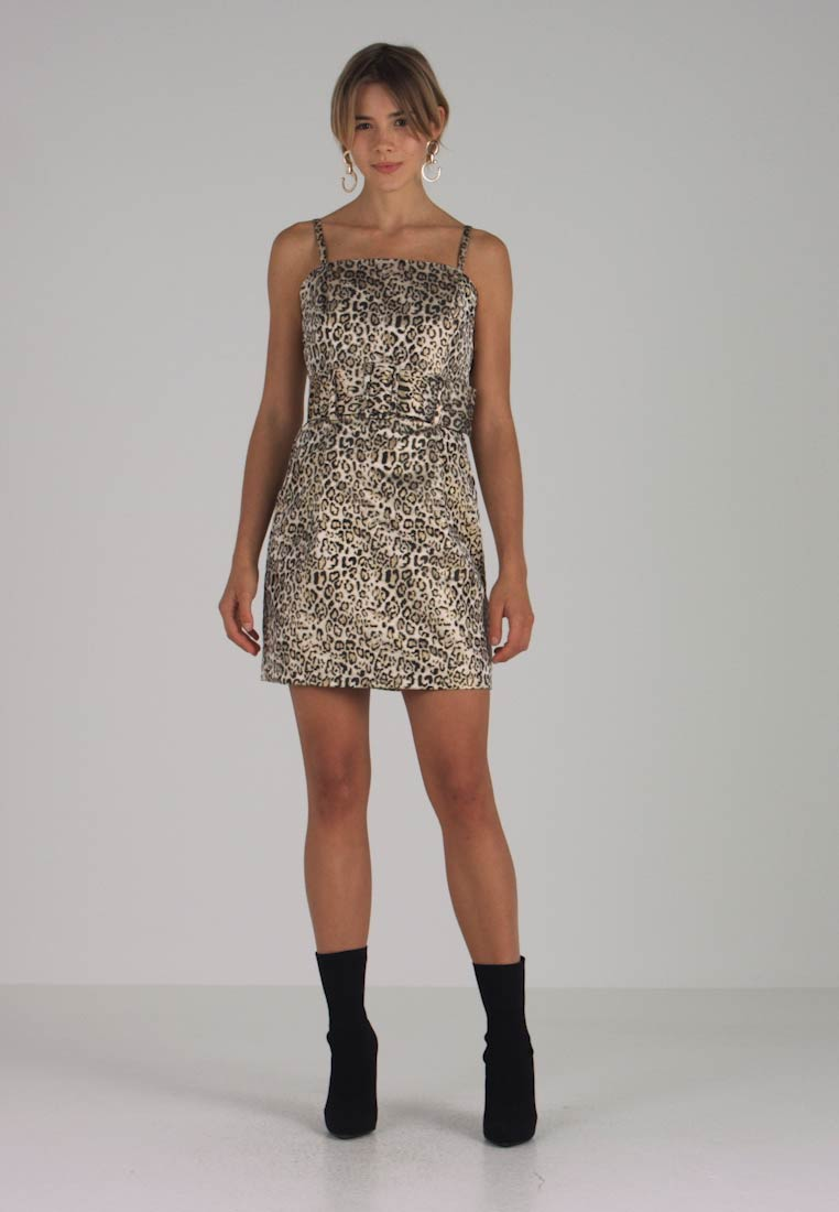 Lost Ink - LEOPARD BELTED MINI DRESS - Cocktailkleid/festliches Kleid - multicoloured