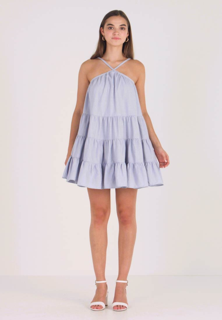 Lost Ink - MINI DRESS WITH TIERS - Day dress - light blue
