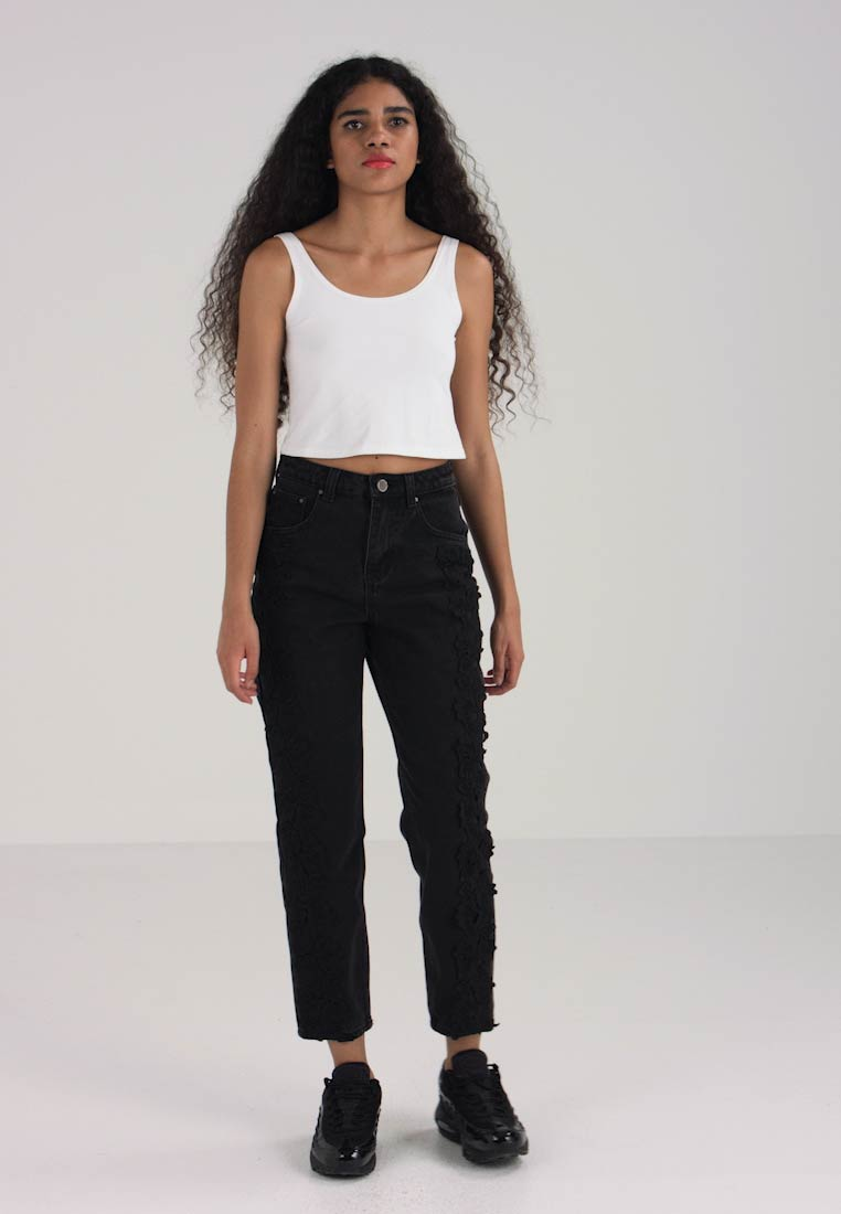 Lost Ink - HIGH WAIST STRAIGHT WITH SIDE FRILL - Jean droit - washed black