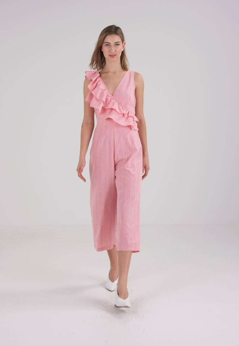 Lost Ink FRILL SHOULDER TIE WAIST - Jumpsuit - pink