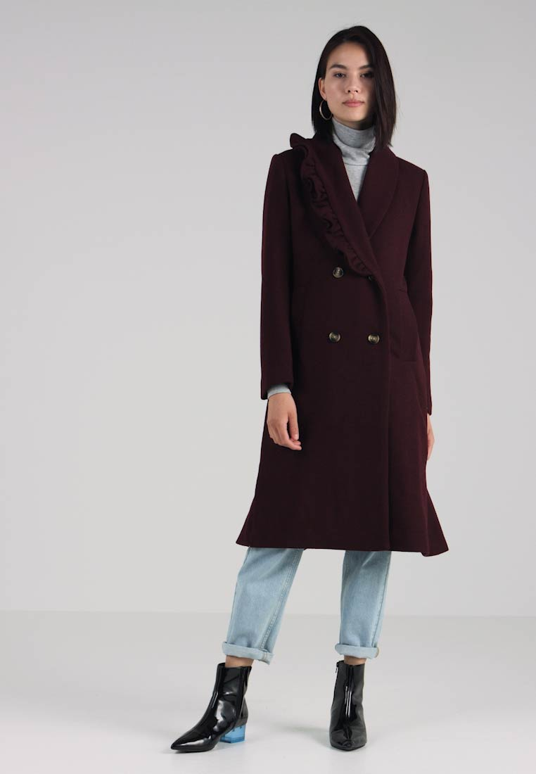 Coat Classic Longline Frill Ink Collar Burgundy Lost Shawl wx7qXYwH