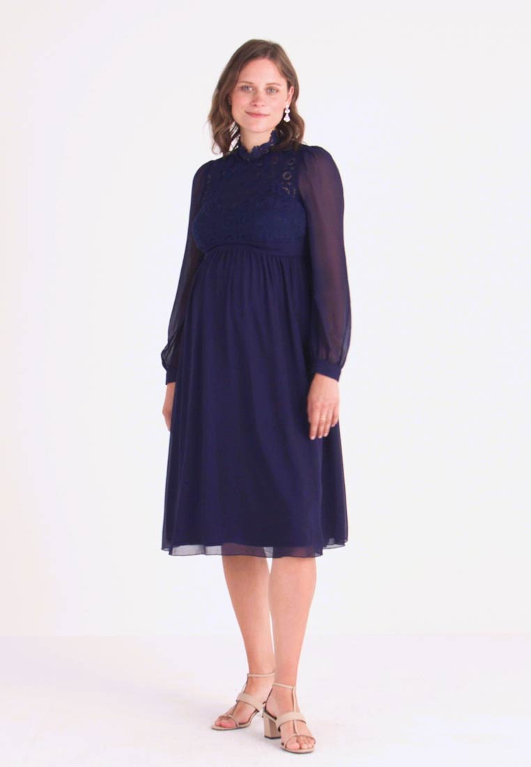 Little Mistress Maternity - SACHA LONG SLEEVE MIDI DRESS - Cocktailkjoler / festkjoler - navy