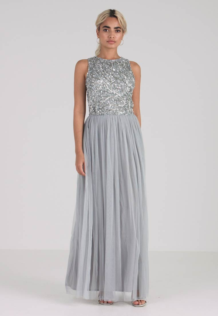 Lace & Beads Petite - PICASSO LEAF MAXI - Festklänning - grey