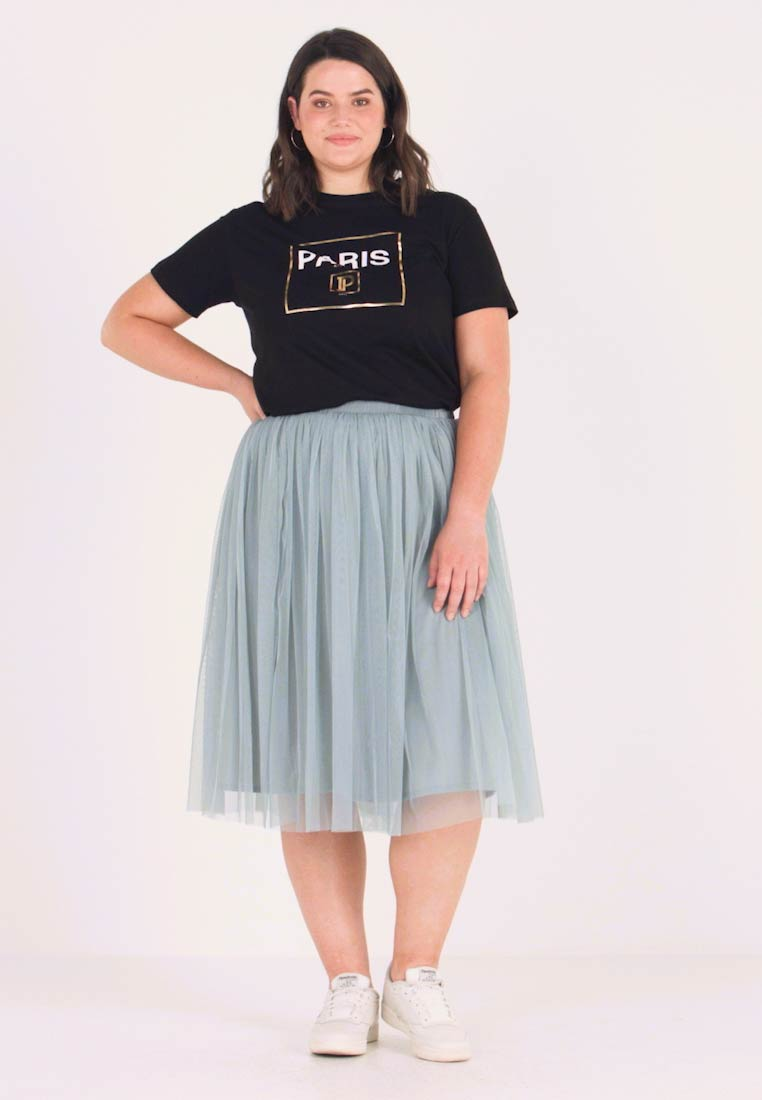 Lace & Beads Curvy - VAL SKIRT - A-line skirt - teal