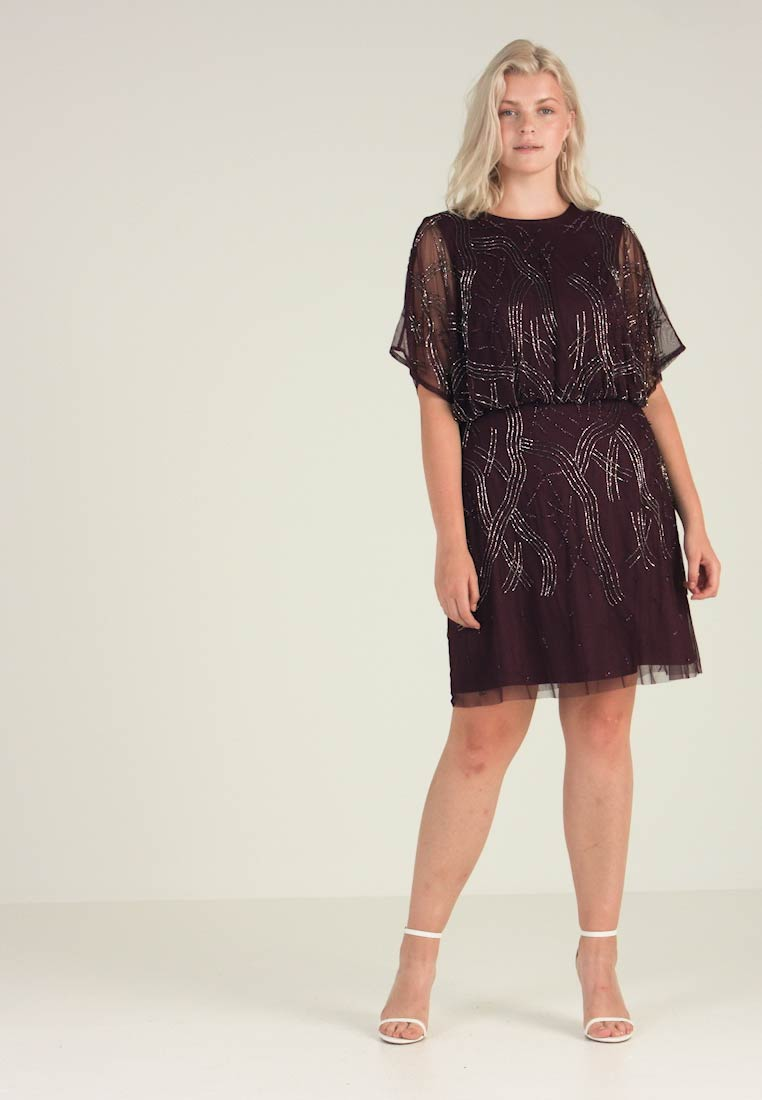 Beads Bordeaux Lace Knee Dress Kiara Curvy amp; Length Cocktail Party 5AwAqF