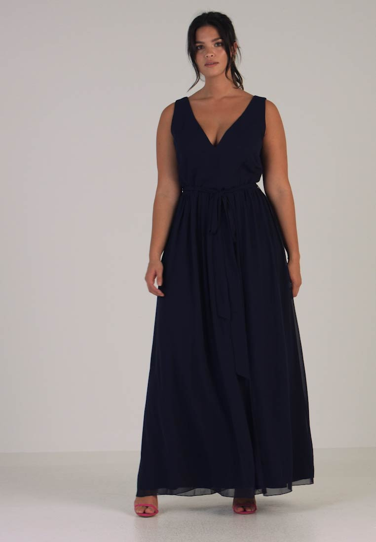 Little Mistress Curvy - ROSE NECK MAXI DRESS - Galajurk - navy