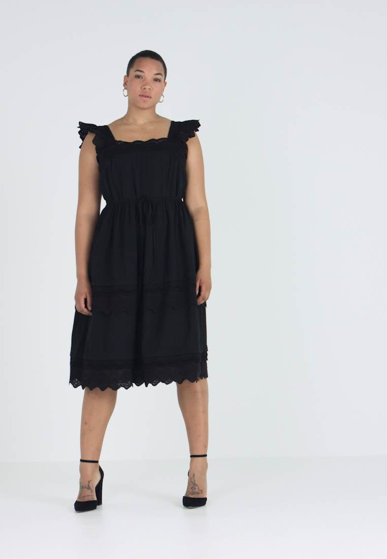 Lost Ink Plus - DRESS WITH TRIM - Robe d'été - black