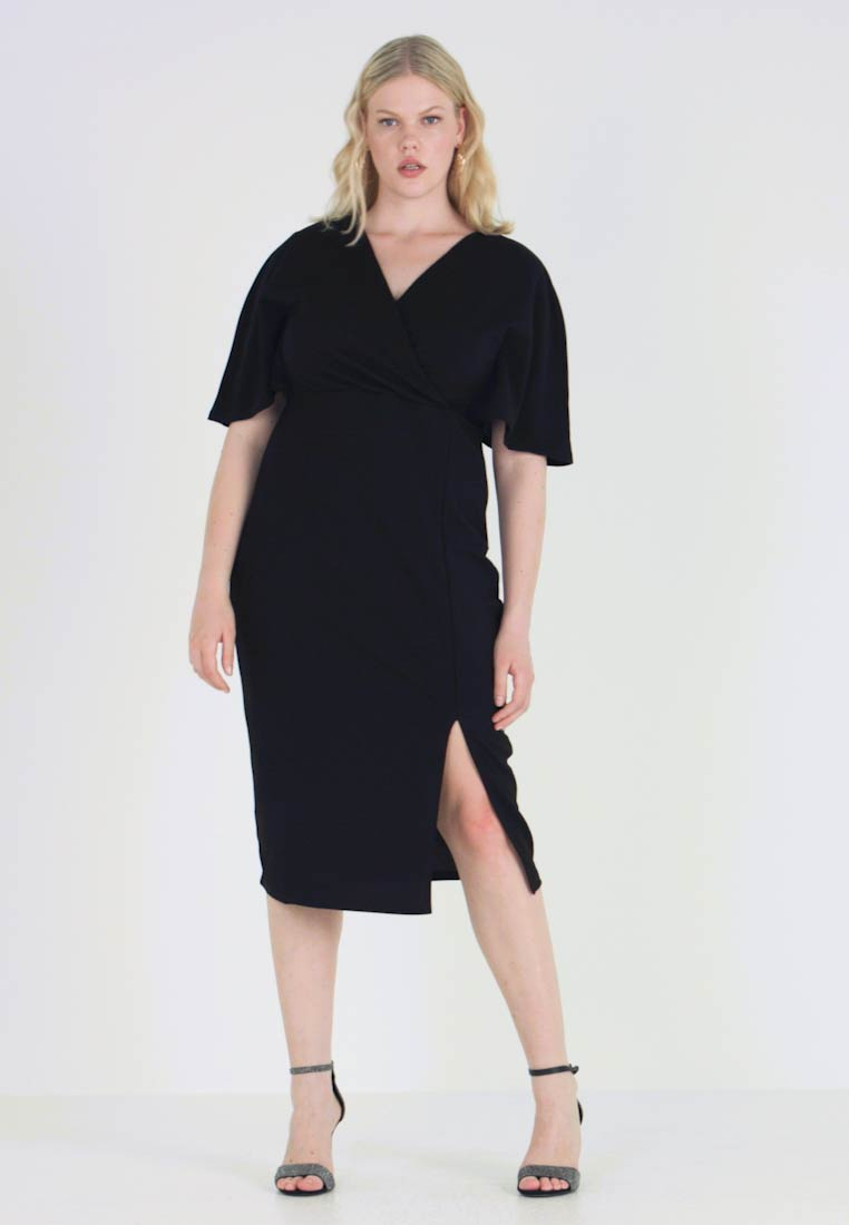Lost Ink Plus - WRAP DRESS WITH CAPE - Shift dress - black