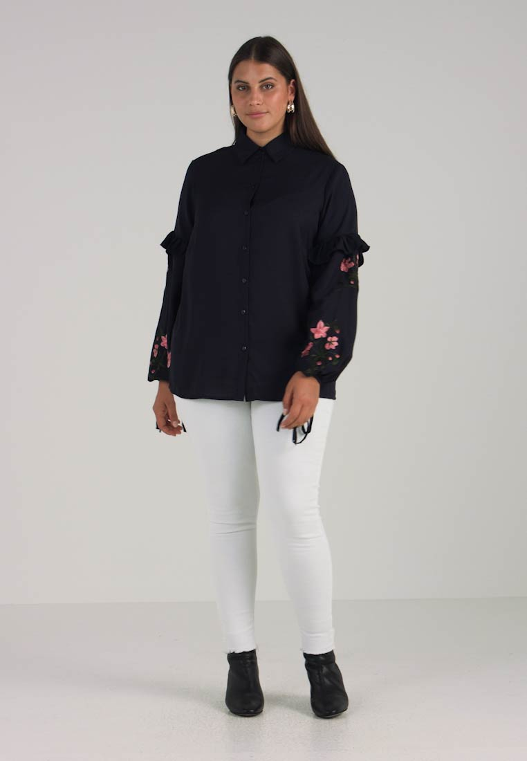 Navy Shirt Embroidered Ink Plus Sleeves Lost Women's AqaYyUXXwc