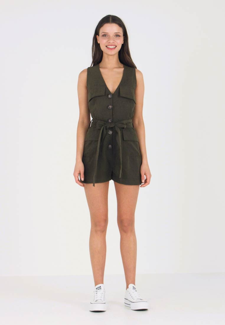 Lost Ink Petite - POCKET AND TIE DETAIL - Jumpsuit - khaki