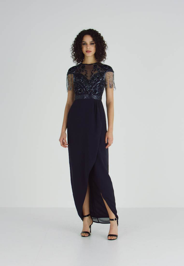 Lace & Beads - SAVANNA WRAP MAXI - Vestido de fiesta - navy