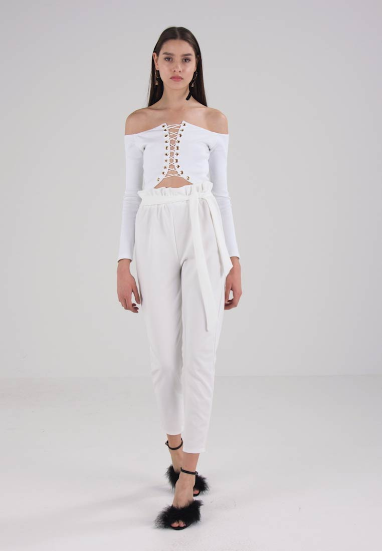 Waist Bag Trousers Missguided Paper Tie White qw5ataBf