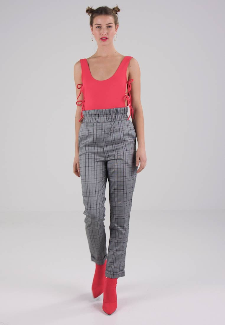 Missguided PRINCE OF WALES PAPER BAG WAIST TROUSERS - Bukser grey
