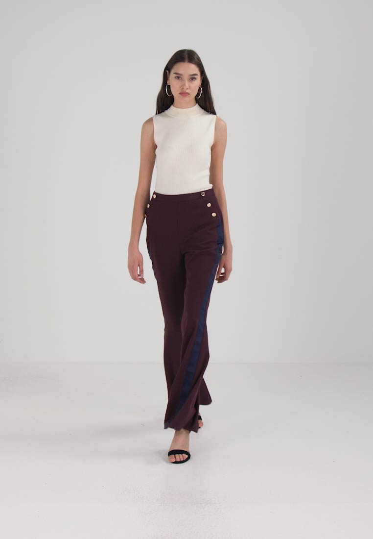 Missguided - SIDE STRIPE KICK FLARE TROUSERS - Pantaloni - burgundy