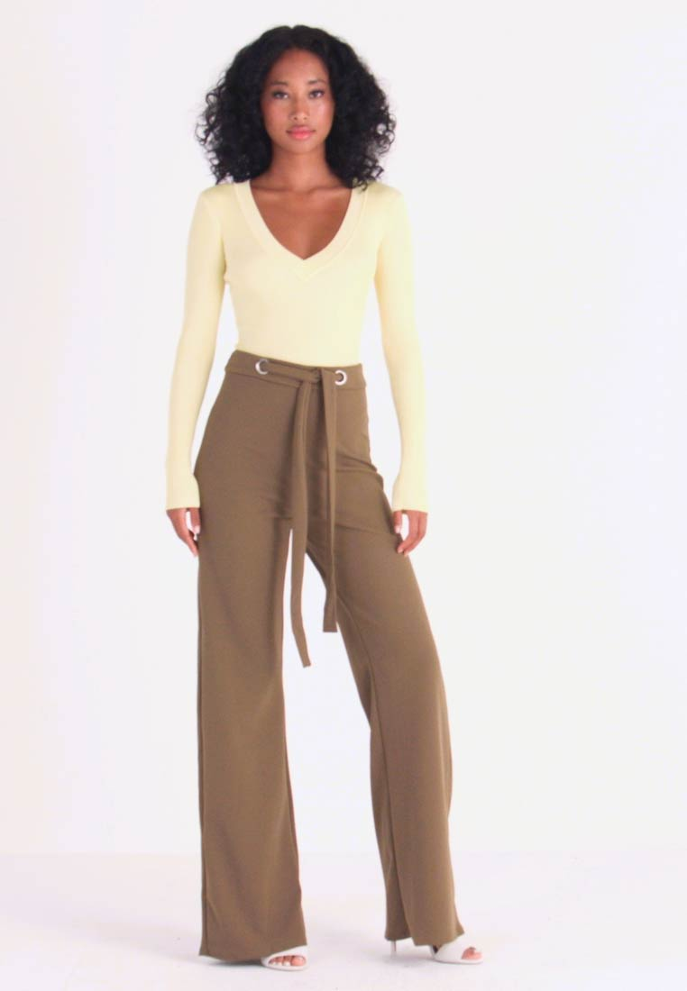 Missguided - STRETCH EYELET WIDE LEG TROUSER - Trousers - olive