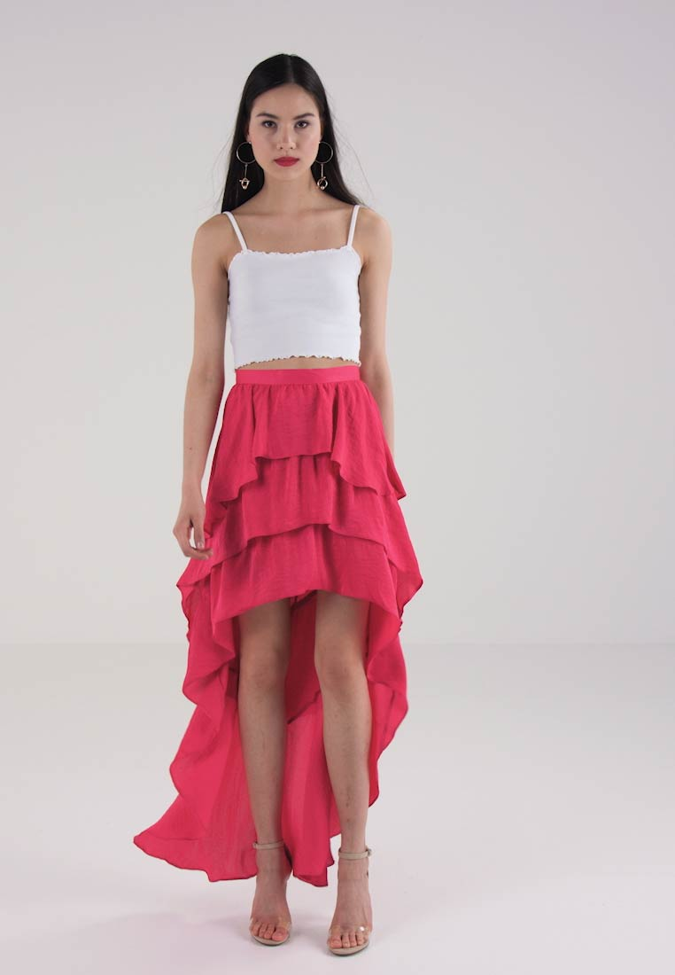 Missguided ASYMMETRIC LAYERED SKIRT  - Fotsidt skjørt - fuschia pink