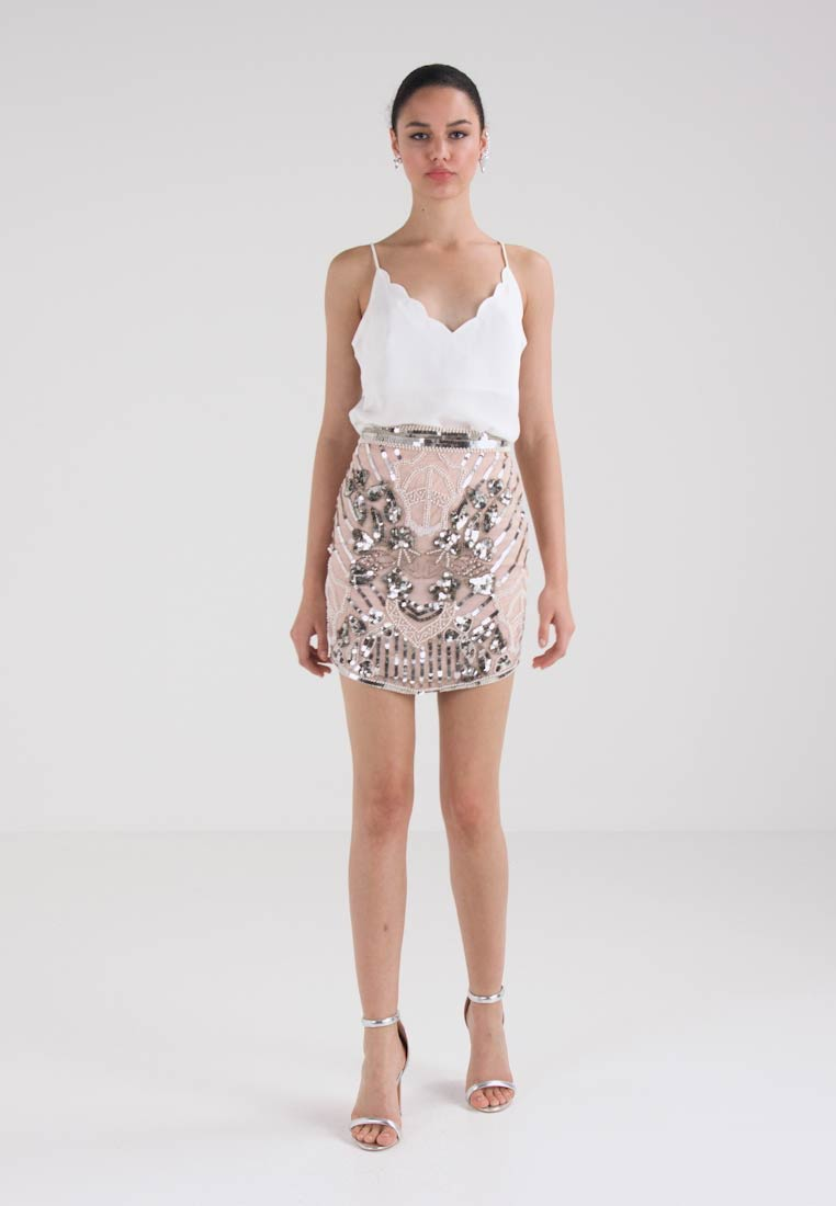 Missguided PEACE LOVE EMBELLISHED HIGH WAIST SKIRT - Minijupe - nude