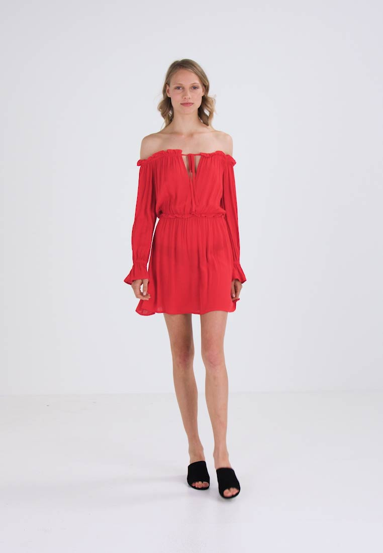 Missguided KEYHOLE BARDOT SWING - Vestido informal red