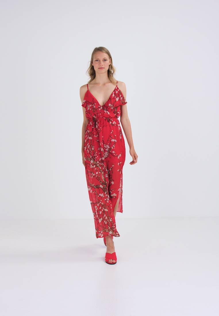 Missguided RED FLORAL - Maxi-jurk