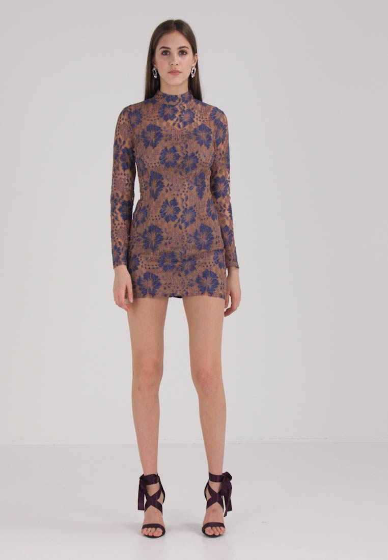 Missguided HIGH NECK CONTRASTED COLOURED LONG SLEEVE BODYCON - Cocktailkjole - nude