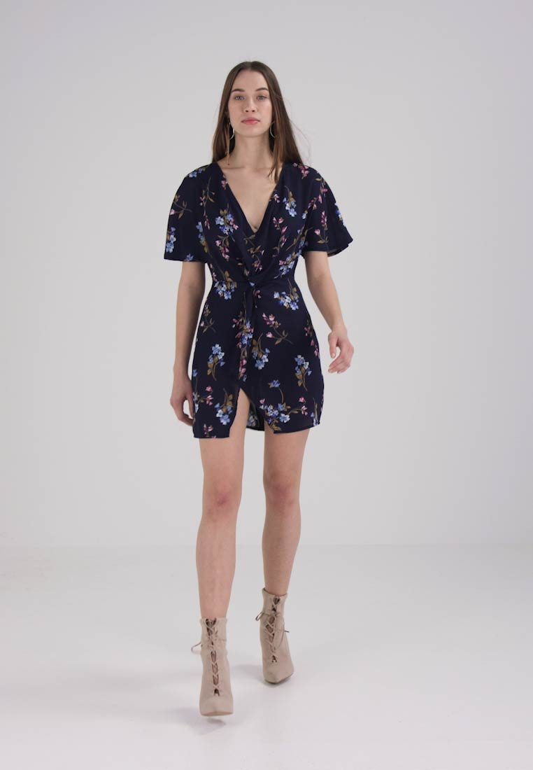 Missguided FLORAL MIDI DRESS - Robe dété - navy