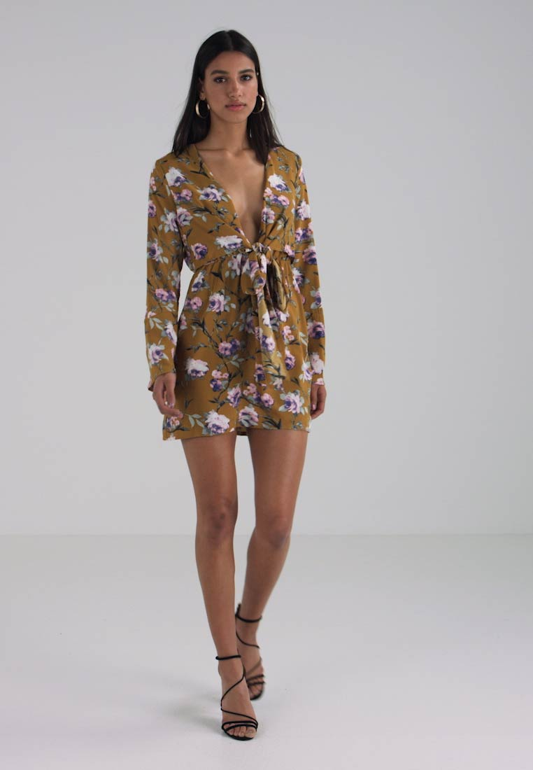 Tie Front Plunge Missguided Yellow Flare Shift Sleeve Dress Day AR7wZwtx