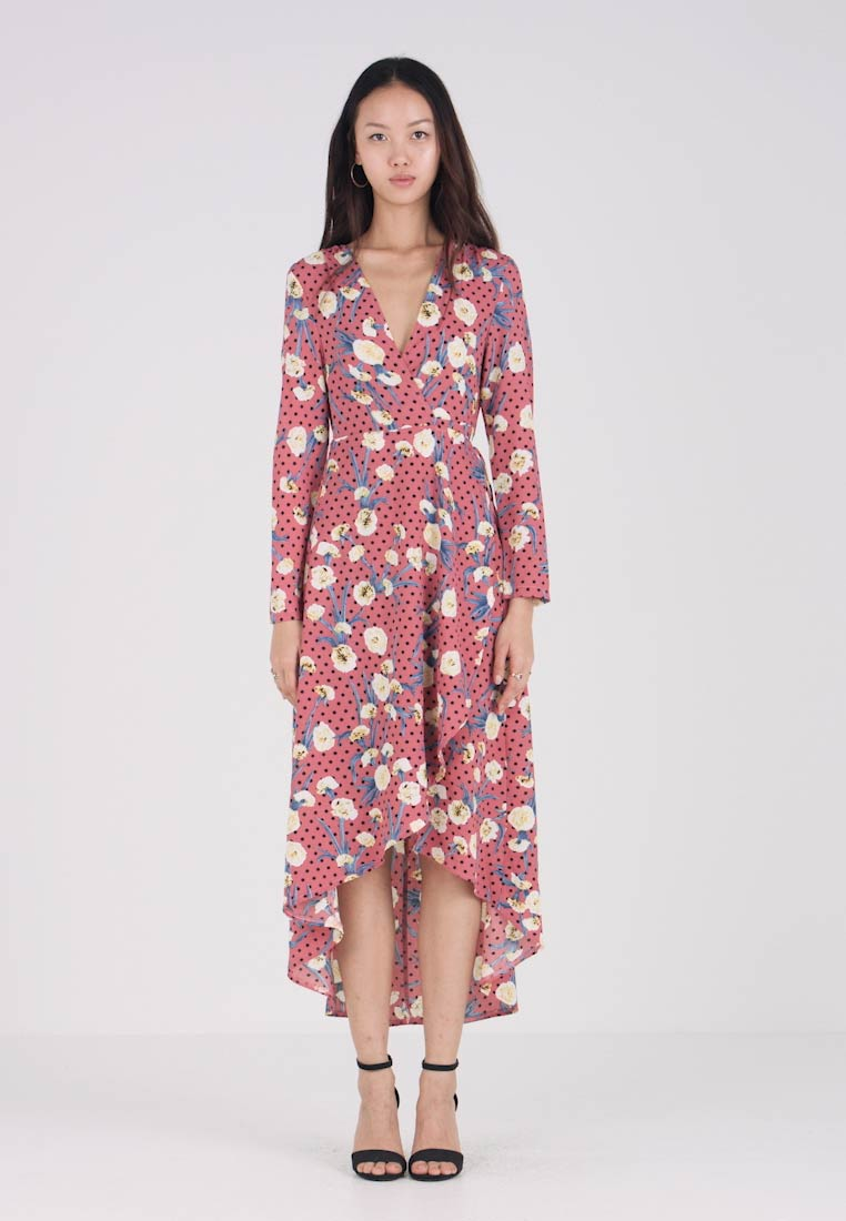 Dot Wrap Floral Pink Missguided Polka Low Longue High Dress Robe QBtshdCxr