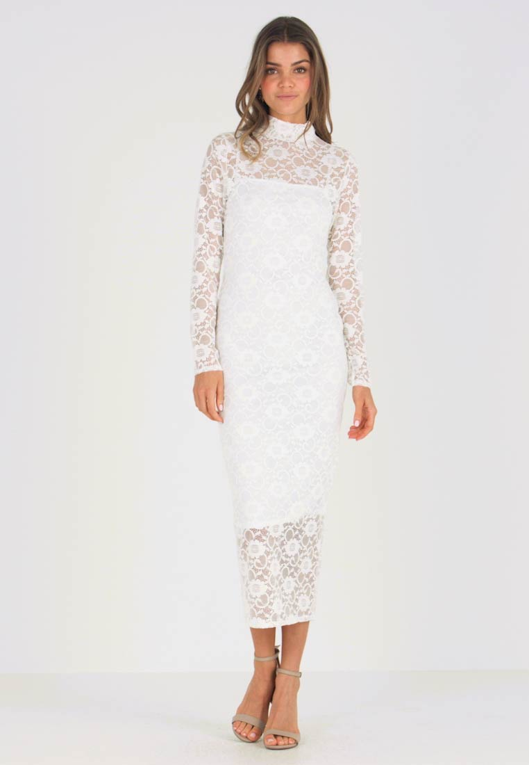 8aa0f7d5221b Missguided HIGH NECK LONG SLEEVE MIDI - Vestito elegante - white ...