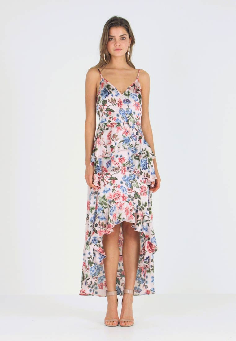 23349df700471 Missguided FLORAL RUFFLED MIDI DRESS - Vestido de fiesta - pink ...