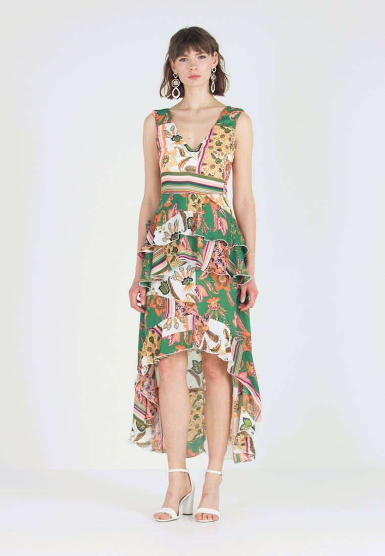 Missguided - FLORAL FRILL HIGH LOW DRESS - Vestito lungo - green