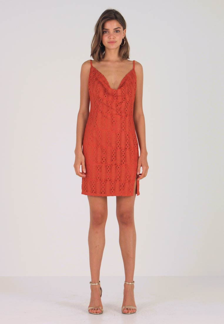 Missguided - COWL NECK MINI DRESS - Cocktail dress / Party dress - rust
