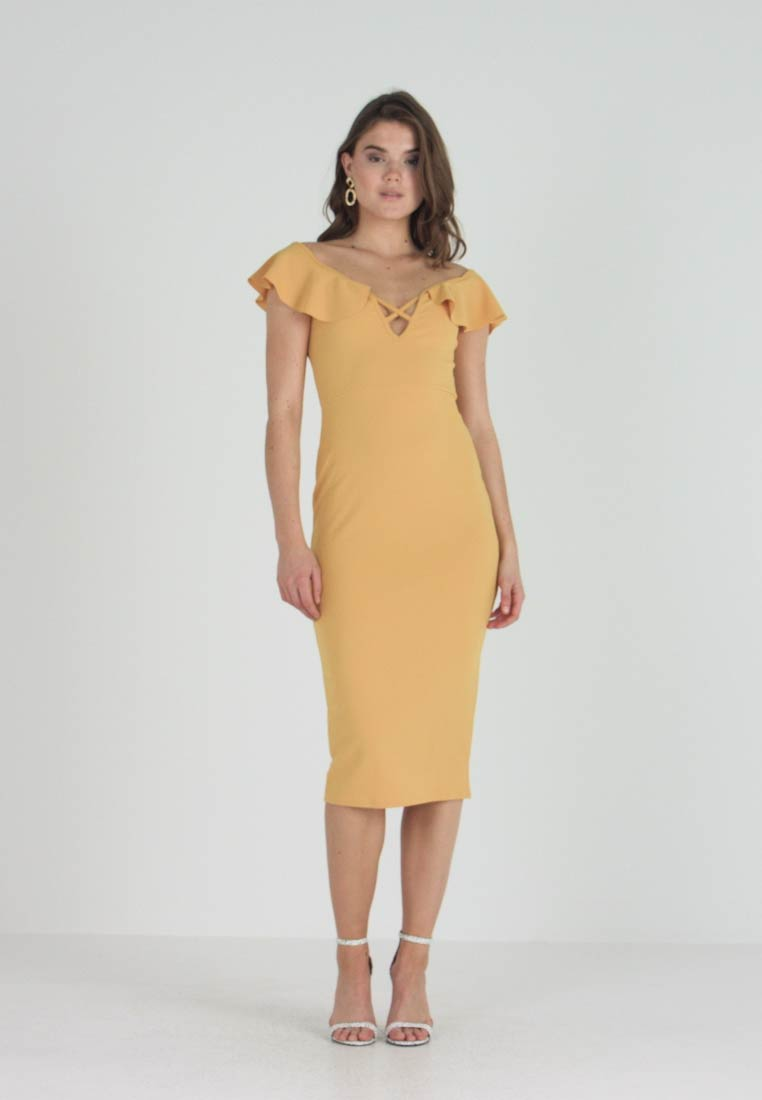 Missguided - BARDOT FRILL CROSS FRONT MIDI DRESS - Shift dress - mustard