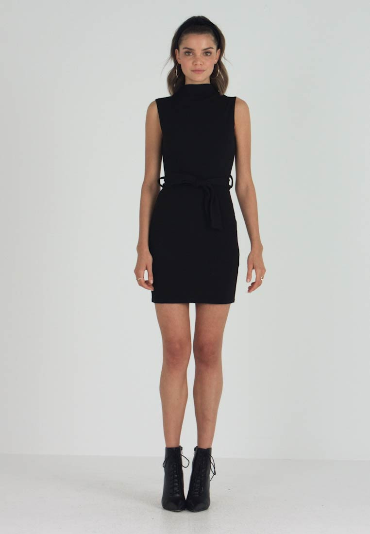 Missguided - HIGH NECK TIE WAIST MINI DRESS - Etuikjoler - black