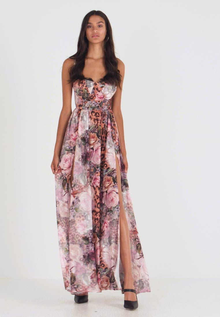 FLORAL LEOPARD CUPPED MAXI DRESS - Maxi-jurk - pink